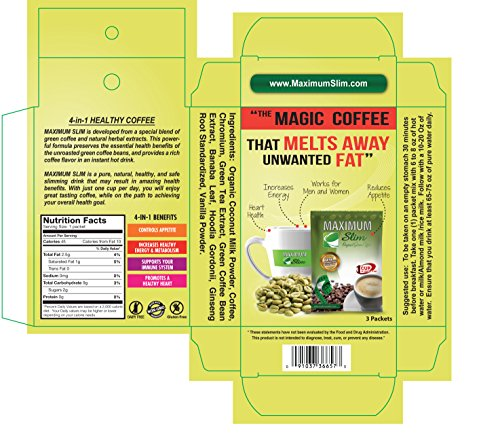 Maximum Slim Sample Pack The Healthy 4-in-1 Organic Coffee with Green  Coffee and Green Tea
