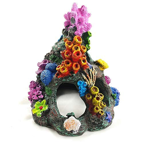 EHC Aquarium Decoration Environments Cave Living Reef Fish Tank Resin Coral Aquarium Ornaments Fish Hide-Away Mountain Retro Rockery Crafts Landscaping