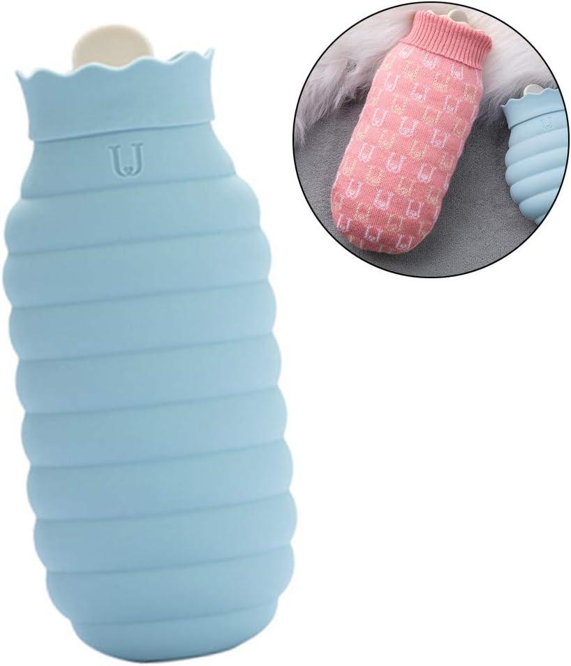 DHQSS Botella de Agua Caliente Silicona Mini Viaje Horno de Microondas Calefacción Botella de Agua Caliente de Silicona con Cubierta de Punto Suave Extraíble Bolsa de Hielo,B