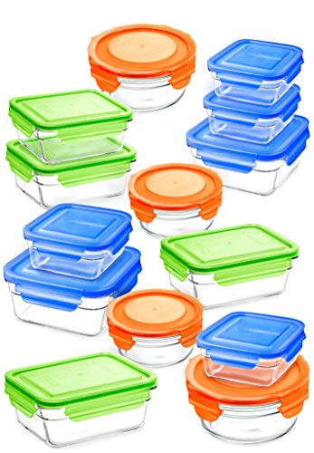 (Snaplock Lid Tempered Glasslock Storage Containers assorted color lids 28pc set Combo - Microwave & Oven Safe Spill)