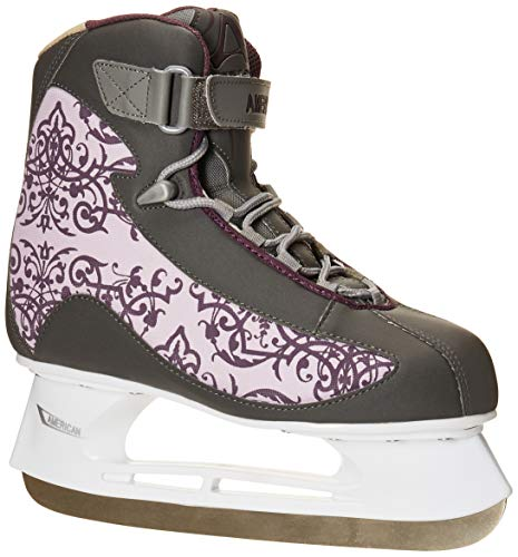 Boot Skates Ice Soft - American Athletic Shoe Co.Women's American Soft Boot hockey Skate , Grey, 8 (Style may vary)