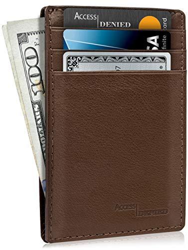 Slim Minimalist Wallets For Men & Women - Leather Front Pocket Thin Mens Wallet RFID Credit Card Holder Gifts For Men - Brown Wallet