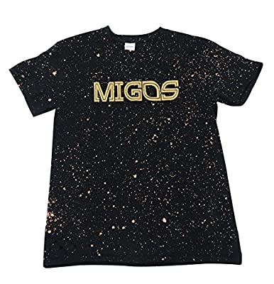 Migos, Migos Culture - Black Bleached T-Shirt - YRN, Young Rich Nation (Gold Print)