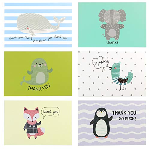 Thank You Cards - 24 Pack Thank You Notes Cards,Baby Shower Cards,Cute Animal Greeting Cards,Blank Note Cards,6 Animal Design Blank Thank U Cards for Mothers Day,Wedding,Baby Shower,Business,Teachers