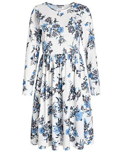 Pintage Women's Long Sleeves Knee Length A-Line Dress L Chinese Floral