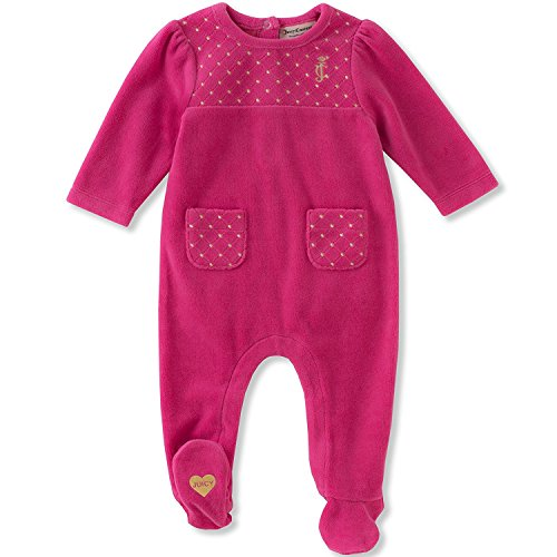 Juicy Couture Girls' Footie, Passion Berry, 0-3 Months
