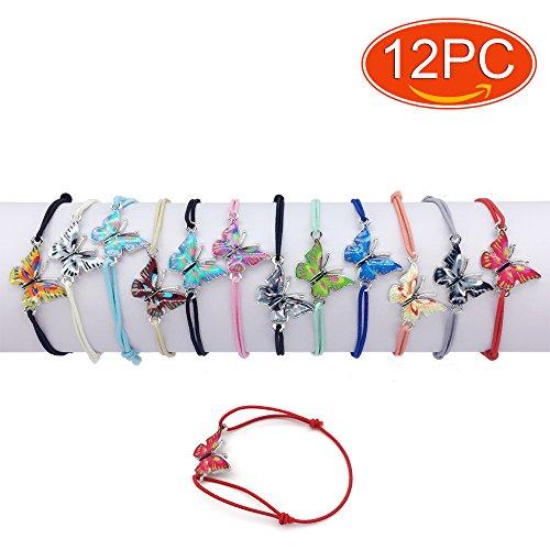 - Elesa Miracle 12pc Women Girl Butterfly Value Set Kids Party Favor Adjustable Bracelet, 01