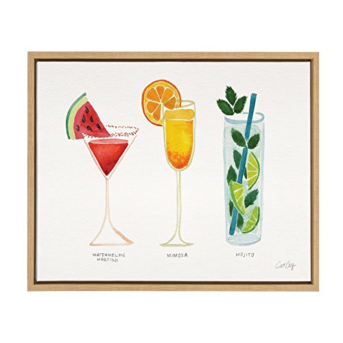 Cat Watercolor (Kate and Laurel - Sylvie Colorful Cocktail Drinks in Watercolor Horizontal Framed Canvas Wall Art by Cat Coquillette, Natural 18 x 24)