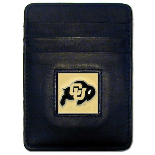 NCAA Colorado Buffaloes Leather Money Clip/Cardholder Wallet - Colorado Buffaloes Mens Leather