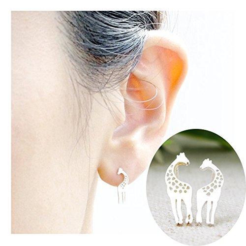 Journey Earrings Necklace - palettei Giraffe Stud Earrings - Giraffe Post Stud Earrings For Women Girls (silver)