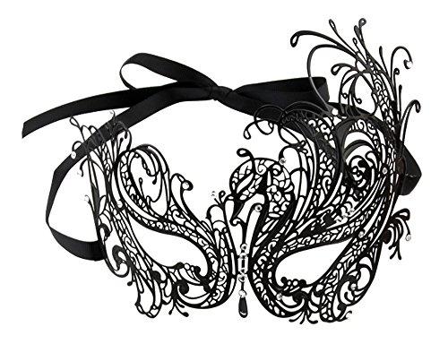 Swan Filigree Venetian Metal Mask with Rhinestones - Children's Swan Costume