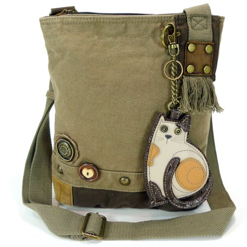 Chala LaZzy Cat Patch Canvas Cotton Messenger Bags with 6 Color Options (Olive) by CHALA (Image #8)