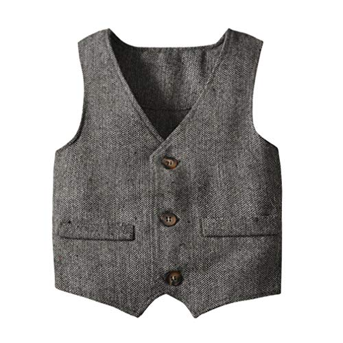 Boys' Girls' Herringbone Grey Buttons V Collar Vests Coat (0-6 Years) Size 12M