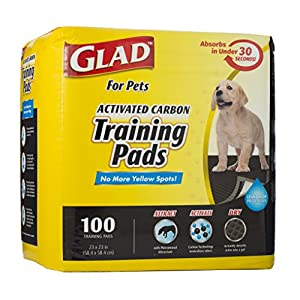 Glad for Pets Activated Carbon Dog Pee Pads | Best Puppy Pads for Absorbing Odor and Urine Quickly | Eliminates Urine Odor on Contact, 100 Count, Black