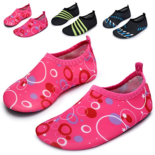 L-RUN Water Shoes For children Slip-On Quick Dry Aqua Sock Pink US 3-4=EU 18-19 Aqua Circle