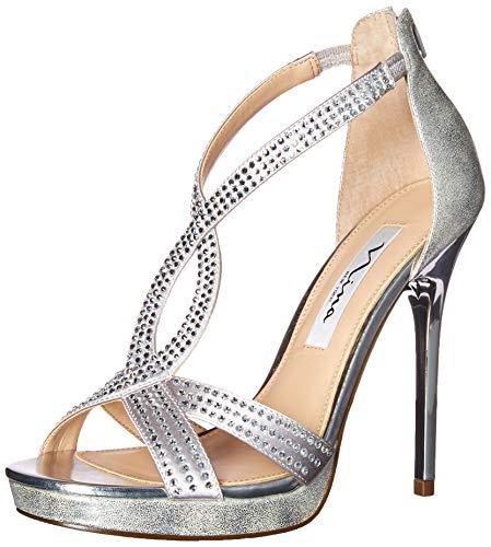 Nina Heels Metallic (Nina Women's Fianna Heeled Sandal, Silver, 7 M US)
