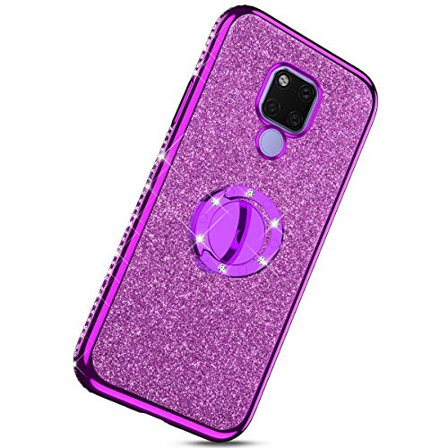 Herbests Compatible with Huawei Mate 20 X Glitter Case Sparkly Bling Rhinestone Diamond Soft TPU Crystal Clear Flexible Protective Cover with Finger Ring Grip Holder Stand,Purple