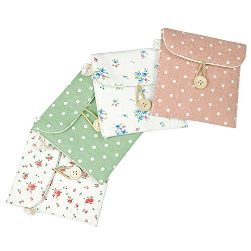 Four Napkins (Women's Linen Sanitary Napkins Organizer Pouch Holder Case 4 Bundle)