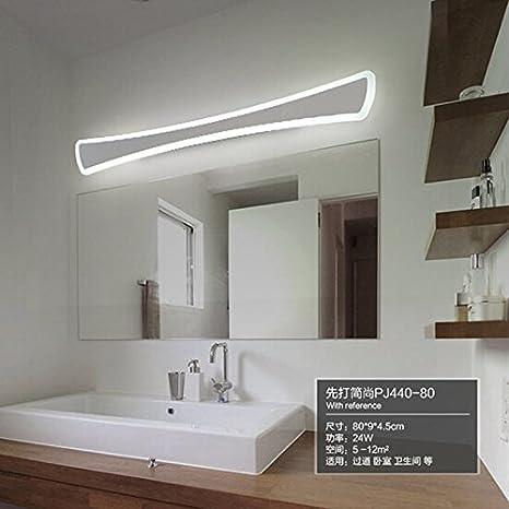 LIUYANNING El moderno baño WC Baño luces LED frontal Espejo Espejo acrílico Apliques de pared 80cm
