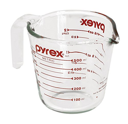 Pyrex Prepware 2-Cup Measuring Cup, Red Graphics, Clear ()