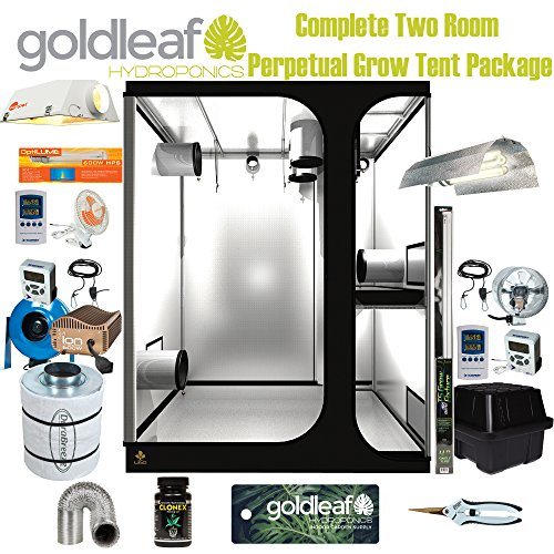 Complete Two Room Perpetual Grow Tent Kit w/600W Sealed HPS, Filter, Fan & more