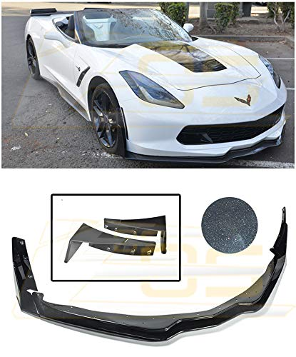 for 2014-Present Chevrolet Corvette C7 | Z06 Z07 Style ABS Plastic Carbon Flash Metallic Front Bumper Lower Lip Splitter with Stage 3 Side Extension Winglets Pair