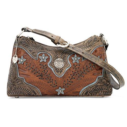 American West Leather Hobo - Zip-Top Shoulder Bag (Desert Flower - West American Hobo Bag