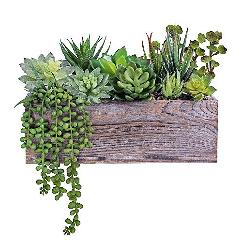 (Supla Rustic Wood Pre-Potted Fake Succulent Planter Artificial Pre-Made Succulent Wood Planter Arrangement 11 Pcs Assorted Artificial Succulent Plants in Rectangular Brown Wooden Planter Box)