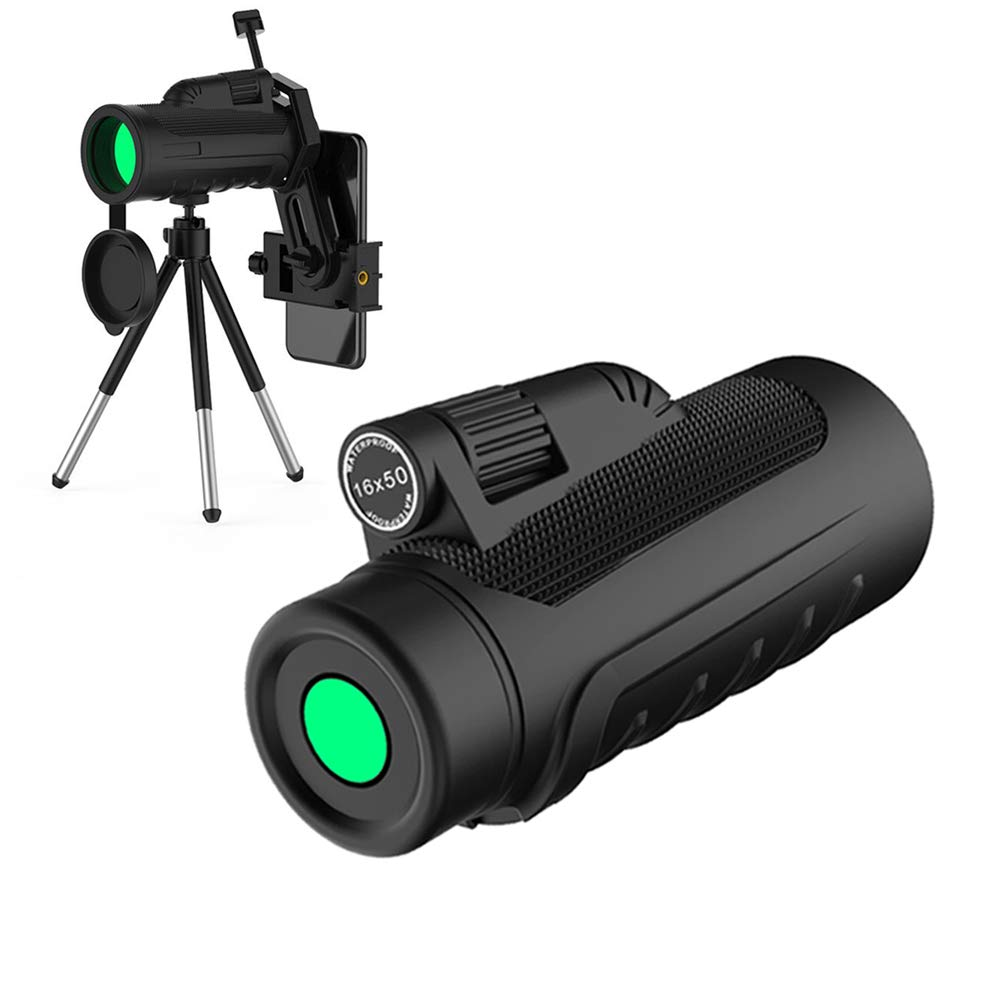 16x50 Hd Monocular Telescope Compact, Monoculars for Adults with Upgrade Quick Phone Mount and Tripod for Phone X 8 7 6 Plus Monocular Scope Optics FMC BAK4 Prisms Waterproof Fogproof for Outdoor langa