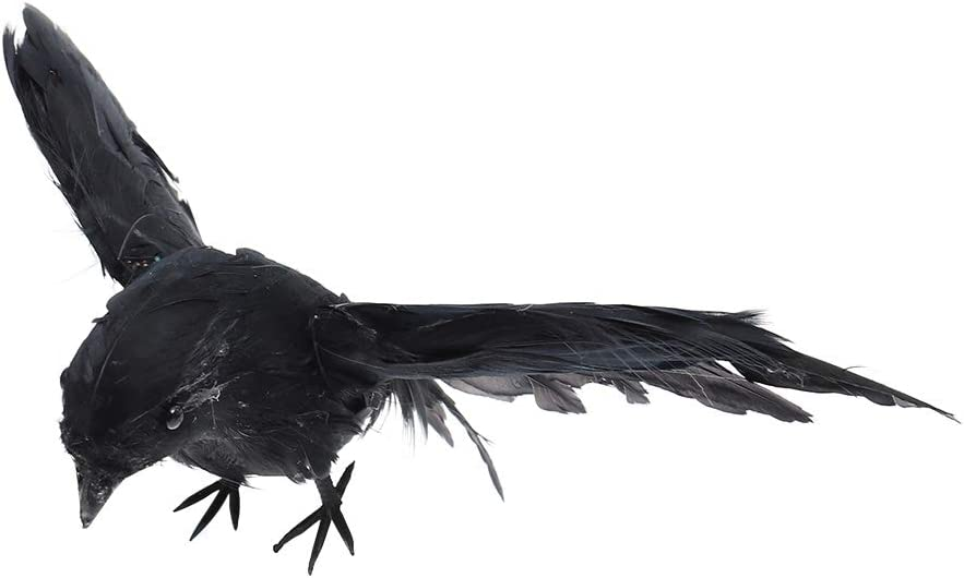 Artificial Feather Birds Winged Black Raven Halloween Props Party Bar Decoration (Black)