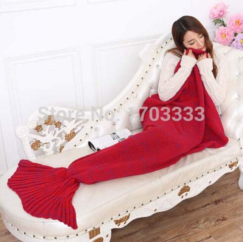 - Knitted Blanket - 10pcs Crochet Mermaid Tail Blanket Super Soft Warmer Bed Sleeping Costume Air Condition Knit - Coral Teens Throw Prime Crib Baby 20 Giant Large Size