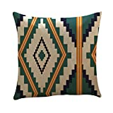 CZYCO Fashion Geometric Stripes Plaid Hug Pillowcase Cotton Square Creative Pillow Cushion Cover Home Car Bed Sofa Vintage Decorative Throw Pillow Cover(C)