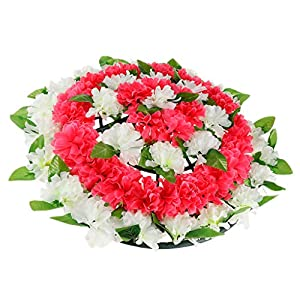 SM SunniMix Artificial Wreath Chrysanthemum Cemetery Flowers Tombstone Saddle Outdoor Grave Decor - 1 115