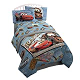 Disney/Pixar Cars Tune Up Blue/Gray 3 Piece Twin Sheet Set with Lightning McQueen & Mater (Official Pixar Product)