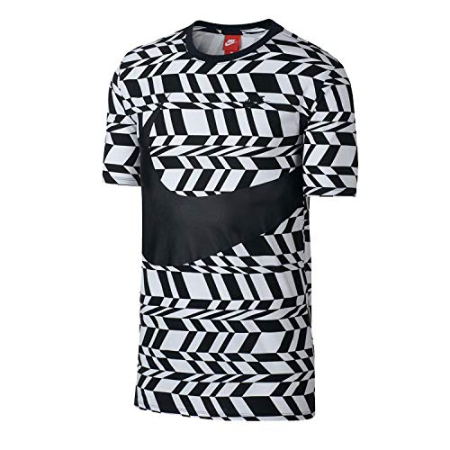 (Nike Men's Sport Casual Allover Print VW Swoosh T-Shirt-Black/White-Medium)