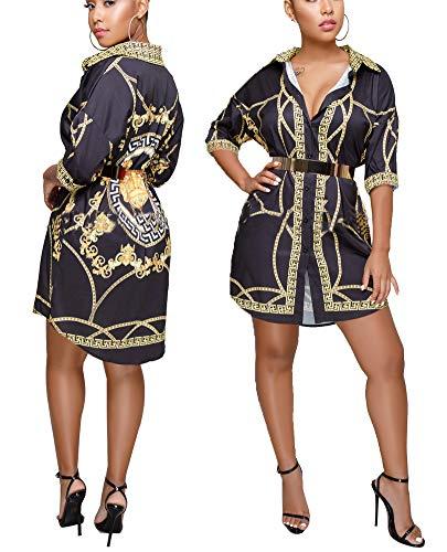 Women's Helios Stripe T-Shirt Dress - Button Down Long Sleeve Collar Loose Blouse Tops Mini Dress Colorful-D XXXL
