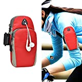 Baiyu Unisex Running Arm Bags Pouch Portable Armband Adjustable Arms Package Mobile Cell Phone Wrist Wallet Band Iphone 6plus Case Holder for Outdoor SportS Jogging Trekking Cycling (Red)