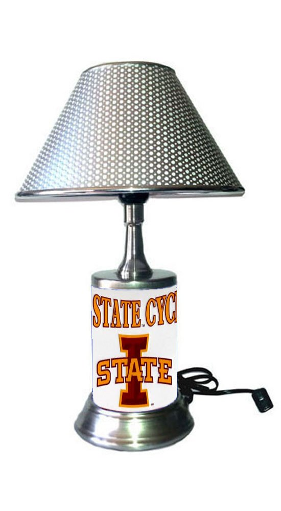 Rico Table Lamp with Chrome Colored Shade Iowa State Cyclones Plate Rolled in on The lamp Base