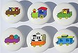 Train Drawer Pulls / Train Nursery Decor Ceramic Drawer Knobs, 6 Set