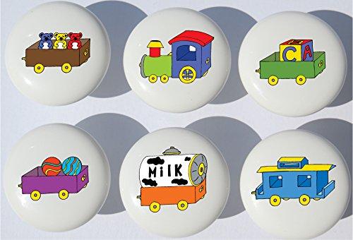 Train Drawer Pulls / Train Nursery Decor Ceramic Drawer Knobs, 6 Set (Boy Dresser Decor)