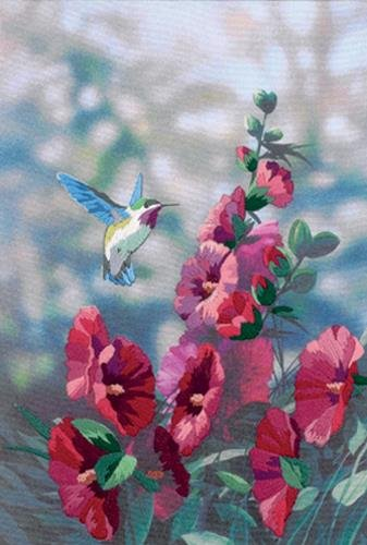 (Dimensions 'Hollyhocks in Bloom' Embroidery Kit, 11'' x 16'')
