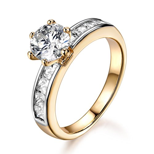 GULICX Halo Ring Emerald Round Cut 6 Prong Clear Cubic Zirconia Yellow Gold Tone Women Band for Party