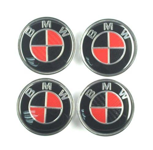 4x 68mm Carbon Fiber Wheel Center Caps For Bmw Logo Redblack