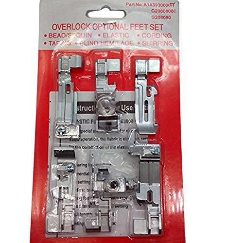 (Set 6 pcs Optional Overlock Feet Foot Kit for Juki Juki Lock MO-50E MO-51E NEW )