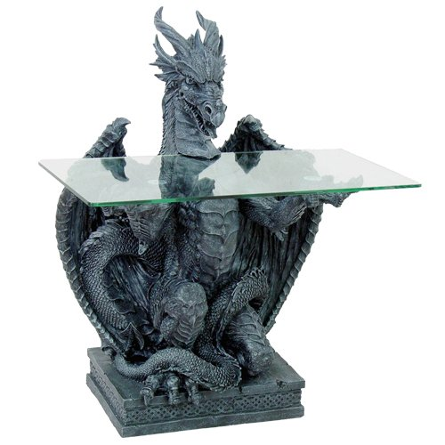 - Pacific Giftware Dragon Sculptural Accent Entryway Table Greystone Finish Glass Top 33.5 Inches Tall