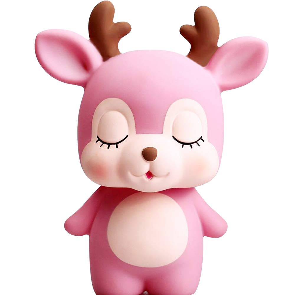 H&W Cute Deer Coin Bank for Kids, Pink, Money Box, Piggy Bank, Candy Box, Best Gift for Children, Boys, Girls (WK6-D2)