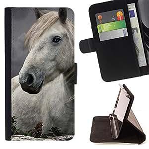 BullDog Case - FOR/Samsung Galaxy Note 4 IV / - / horse mane nature abstract white stallion /- Monedero de cuero de la PU Llevar cubierta de la caja con el ID Credit Card Slots Flip funda de cuer