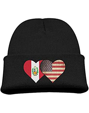Peru Flag And American Flag Kid's Hats Winter Funny Soft Knit Beanie Cap