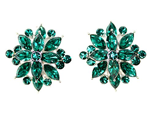 Faship Gorgeous Emerald Green Crystal Clip On Earrings
