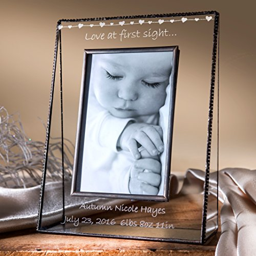 J Devlin Pic 319-46V EP558 Baby Love at First Sight Personalized Picture Frame 4x6 Vertical Engraved Glass Keepsake Gift - Engraved Glass Picture Frame